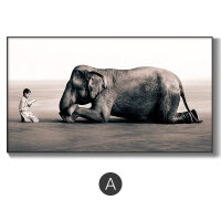 沙发背景墙装饰画客厅大气简约黑白禅意艺术画大象人物大幅北欧画 220*120 铝合金框-黑色 独立