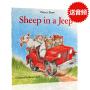 英文原版绘本 Sheep in a jeep 小羊向前冲 吉普车里的羊 廖彩杏书单韵文推荐 儿童图画书读本 平装大开