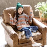 女童毛衣2018新款韩版时髦洋气套装儿童秋装女中大童两件套潮衣服ZQ38 巧克力色