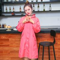 韩版时尚拉链风衣式罩衣女士长袖防水防油厨房围裙带帽工作服 浅桃红XL 号140斤以上
