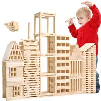 益智积木玩具环保宝宝原木制建筑堆搭积木拼装玩具力开发1早教2儿童3-6岁男女