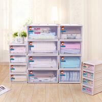 抽屉式收纳柜透明塑料大号收纳箱简易衣柜储物箱衣物收纳盒宝宝整理箱家用可组合