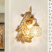欧式创意床头壁灯 卧室过道楼梯阳台走廊墙灯客厅背景墙孔雀灯 姜黄色 孔雀壁灯左边
