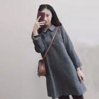 2018秋冬女装新款连衣裙长袖气质港味娃娃领小香风仙女打底裙 灰色