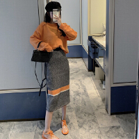 2019秋冬季新款韩版轻熟风针织裙子两件套女洋气御姐时尚套装女