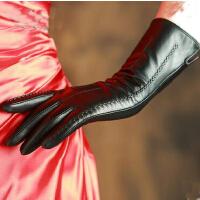 山羊皮手套女冬长款真皮中长款手套女显瘦秋冬保暖可触