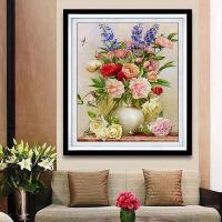 十字绣新款客厅餐厅卧室大幅挂画简约现代牡丹花瓶花卉图