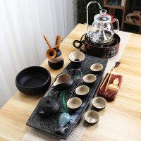 【新品热卖】功夫茶具套装家用小套茶杯组合办公室简约茶海托盘手绘乌金石茶盘 28件