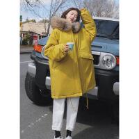 棉衣女冬季新款韩版加厚保暖宽松大毛领工装外套中长款学生棉袄潮 黄色 S