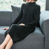 毛衣长裙过膝秋冬宽松加厚半高领针织连衣裙中长款毛衣女 M 80-115斤