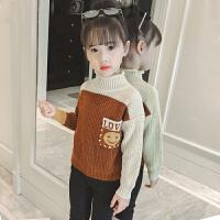 女童毛衣2018新款韩版时髦秋冬季女儿童针织洋气套头毛线上衣外套MYZQ75 深棕色 口袋笑脸毛衣