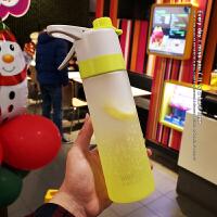 【优选】美式大容量便携喷雾杯简约网红塑料水杯男女士创意运动健身随行杯 文艺绿 送杯刷+运费险
