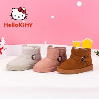 【4折�r:95.6元】HelloKitty�P蒂�童鞋女童雪地靴2019冬季女孩保暖加棉低筒靴甜美�r尚K9546820