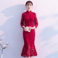 鱼尾敬酒服2018新款中式中国风中长款新娘旗袍红色结婚礼服裙冬季 酒