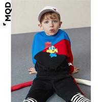 MQD男小童拼接运动套装春秋潮酷宝宝假两件套儿童洋气卫衣套装潮