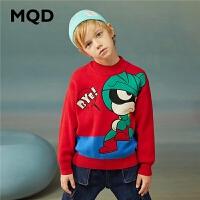 【1件2.5折券后价:107】MQD童装男童毛衣20冬装新款半高领儿童卡通大图案保暖针织套头衫