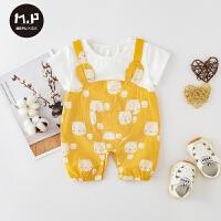 女宝宝夏装新款薄款假两件套装婴儿夏季外出服婴儿短袖爬服