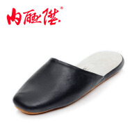 内联升男鞋拖鞋男围条软羊皮拖鞋 皮底拖鞋 老北京布鞋 3018C