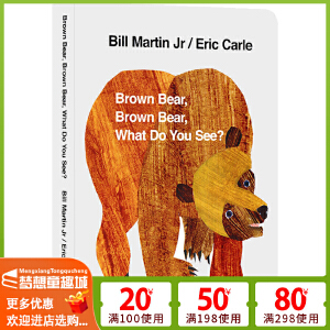 #【2020新版包邮】Brown Bear What Do you see 廖彩杏 英语英文绘本0 3岁 进口原版 棕色的熊你在看什么 艾瑞 卡尔爷爷 Eric Carle 纸板书 吴敏兰书单
