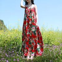 吊带裙修身显瘦气质连衣裙夏长款波西米亚海边度假沙滩裙棉麻长裙