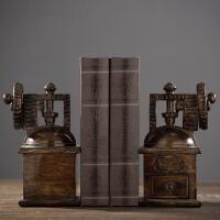 美式复古树脂咖啡机书档书靠书立家居书房书架装饰品摆件软装配饰北欧别墅样板房书桌软饰 美式咖啡机书挡一对