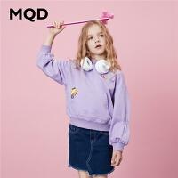 MQD童装女童连帽卫衣2020春装新款儿童外套潮流印花韩版休闲上衣