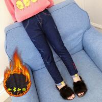 女童冬装加绒牛仔裤加厚保暖小脚裤中大儿童女孩紧身弹力铅笔裤子