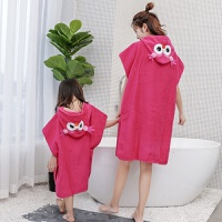 儿童浴巾浴袍卡通加厚带帽游泳斗篷宝宝纯棉毛巾料吸水沙滩巾披风 红色 猫头鹰-毛圈
