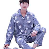 睡衣男士加厚法兰绒长袖秋冬季珊瑚绒套装家居服灰色兔子