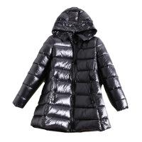 冬装加厚鹅绒娃娃款A字羽绒服女士斗篷型连帽中长款外套