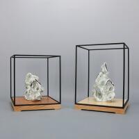 【新品】新中式简约铁艺展示架陶瓷太湖石寿山石软装样板房展厅会所摆件
