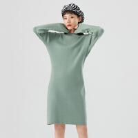 【直降�r:217.3,27日0�c可�B券】美特斯邦威毛��B衣裙女�L款2020新款冬季����色直身打底�L裙子