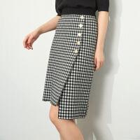 2018秋冬新款韩版高腰修身显瘦针织格子包臀裙半身裙女 黑白格 均码