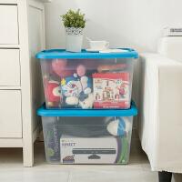 [当当自营]禧天龙Citylong 大号环保塑料收纳箱2个装 6348 透明蓝 整理箱衣物储物箱
