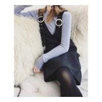 毛呢背带裙秋冬新款V领小香风修身直筒吊带打底背心裙