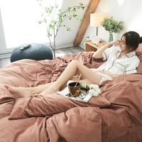 纯黑色天鹅绒四件套纯色双面绒床上用品珊瑚绒宿舍床单三件套毛绒定制