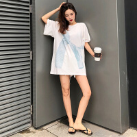 春季女装新款条纹印花打底衫上衣潮韩版简约气质宽松休闲短袖T恤