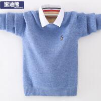 中大童保暖打底衫新款男童加绒毛衣加厚衬衫领针织衫