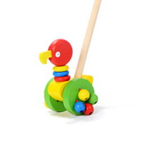 1-2岁宝宝玩具 婴儿宝宝溜溜车手推车助步车单杆推推乐拖拉木制玩具1-2周岁