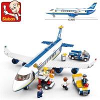 快乐小鲁班积木兼容乐高拼装飞机系列男孩力客机模型机场玩具 空中巴士0366(463片)