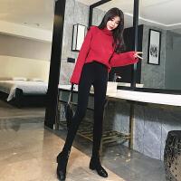 加绒加厚打底裤女外穿秋冬舒适高腰黑色加长紧身小脚魔术裤子