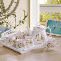 【新品】景德镇茶壶陶瓷整套下午茶功夫茶具杯茶盘套装家用简欧式带托盘 8件