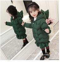 女童棉衣新款冬装儿童装棉袄中长款宝宝羽绒冬季洋气外套 绿色 100cm