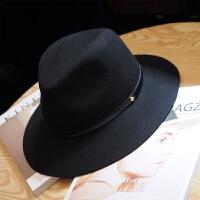 简约设计宽檐毛呢黑色帽子女秋冬羊毛礼帽英伦百搭爵士帽男女