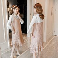 孕妇秋装2018新款韩版时尚款套装秋季潮妈中长款吊带两件套连衣裙
