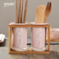 家用筷子筒日式樱花餐具陶瓷筷笼筷子篓单个筷子笼沥水厨房筷笼子