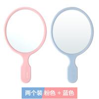 ins小镜子小号便携化妆镜可爱个性创意韩版便携简约少女圆随身镜 2个装 粉色 + 蓝色