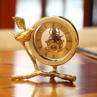 欧式钟表摆件客厅座钟台式桌面床头柜时钟美式铜家居酒柜装饰品 金黄色
