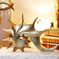 2019新品欧式复古海螺摆件创意家居装饰品客厅树脂工艺品时尚现代酒柜摆设 海螺摆件