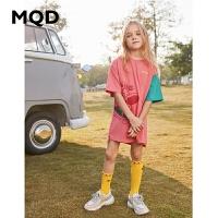 【2件3折:114】MQD童装女童连衣裙2020夏季新款儿童撞色拼接T恤连衣裙韩版洋气潮